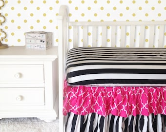 Ritzy Baby Black and White Stripe and Taza Pink Tiered Ruffle 3 or 4-Sided Crib Skirt