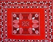 50s red bandana fast color cotton square hearts arts and crafts print head scarf dog scarf made in usa
