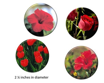 Flower Garden Refrigerator Magnets Red Flowers Photo Fridge Magnet Set 2 1/4 inches in diameter