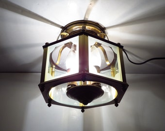 Carriage House Style Ceiling Lamp Vintage 1950s 1960s Brass and Glass Entry or Hallway Fixture Lamp