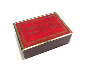 Rubber Band and Paper Clip Desk Organizer Vintage 1940 1950s Team Line Brown Plastic Desk Storage Box