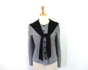 Vintage Striped  Blouse Black White Silver Long Sleeve Knit Sailor blouse Large