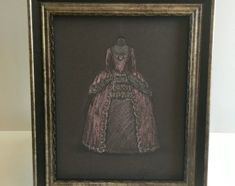 Margueritte, a vision in pink.  Original drawing.  Georgian evening gown. 8x10 inches.