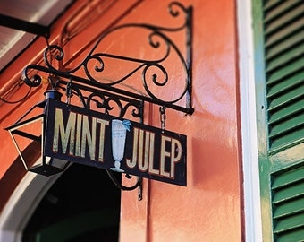 Mint Julep French Quarter Print, New Orleans Art, Pat O'Briens, Mardi Gras, Louisiana Wall Art, Home Decor
