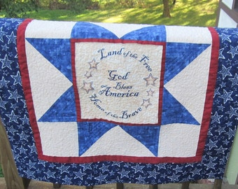God Bless America, Land of the Free, Home of the Brave Patriotic Star  Quilted Wall Quilt, Quilted Table Topper