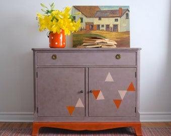Mauve Cabinet with Triangles