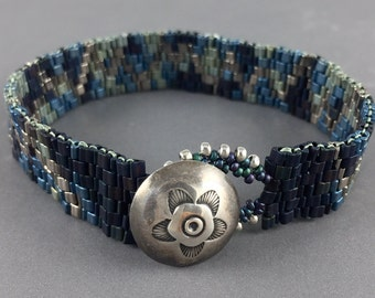Beaded Bracelet with Vintage Metal Button Clasp by Marcie Stone