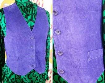 Bright 90s Vintage Purple Suede Vest!
