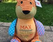 FOX Cubbies- Personalized Stuffed Animal Cubby Doll Birth