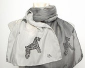 15 OFF SALE Mother Day Present  Hand Painted Silk Cotton Dog Animal Lover Scarf with Schnauzer Silver  Black Grey Ombre Scarf