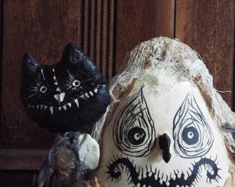 Halloween Ghost Doll Friday Fred Halloween Handmade OOAK Folk Art Primitive