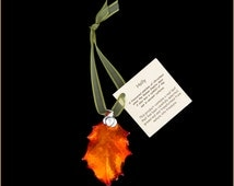 Real Holly Leaf Dipped In Iridescent Copper With Silver Berry Double Ornaments with Ribbon Hang Tag - Real Dipped Leaves