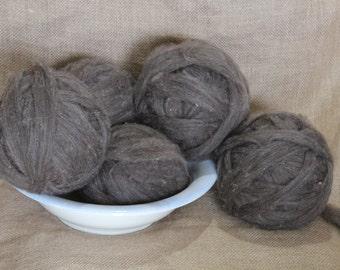 Brown Finn Sheep Wool Roving-- Spinning Fiber --Natural Color --  Minnesota Grown Wool -- Wool