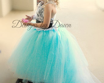 Flower Girl Dress with lace overlay! Aqua Dress. Black Dress. Any Color Combination! Size 6m-10 Girls.