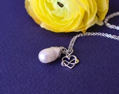 Freshwater pearl necklaces, Bridesmaid gifts, white pearl, gold fill, wire wrapped, bridesmaid jewelry, initial cha