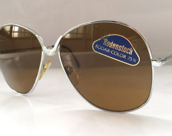 80s Vintage German Big Round-Frame Buffalo Horn Pattern Rodenstock LOTOS Sunglasses