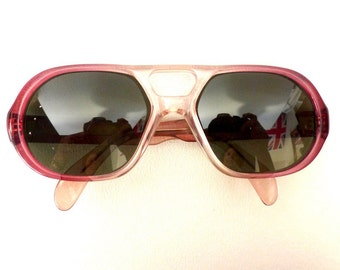 Imperial Aviator Sunglasses // Vintage 1960's// Two Tone Pink Frames with Grey Lenses // #M40