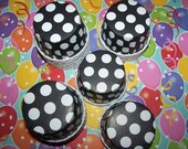 Treat/Portion Cups,  Black Large White Polka Dots, Party Cups, Cupcake Baking 12 Polka Dots Treat Cups