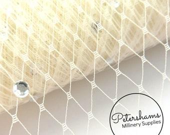 Diamante / Rhinestone Veiling for Wedding birdcage veils & fascinator millinery 1m (1.09 yards) - Ivory