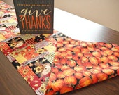 Fall Scarecrows Table Runner Pumpkins Sunflowers Autumn Thanksgiving Blessings Primitive Orange Red Black Yellow Green Stripes Reversible