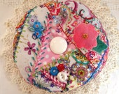 Reserved for Fee- Square Crazy Quilt Embroidered Pincushion- Made to Order