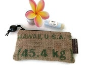 Burlap Coin Purse, Repurposed Hawaii, USA Coffee Bag, Money and Gift Card Holder. Great Gift for Coffee Lovers. Handmade in Hawaii.