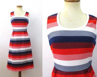 1970s Sundress Red White Blue Striped Dress High Waisted Sleeveless Flared Skirt Fitted Waist Mod Scoop Neck Mini Midi A-line BBQ Small S