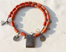 Antique Moroccan sterling silver pendants and antique  untreted coral necklace, Berber Jewelry, Moroccan Necklace
