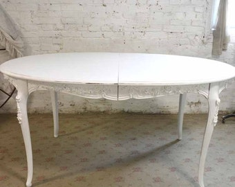 Dining Table Painted Cottage Chic Shabby White French Dining Table TBL199