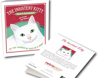 """Cat Art """"Insistent Kitty"""" 6 Small Greeting Cards by Krista Brooks"""