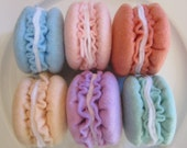 SALE...Hand Made Felt French Macarons,  Pastel Colors, Felt Food Pretend Play 1/2 Dozen