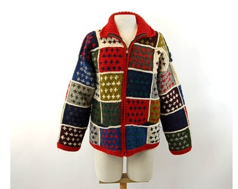 Hand knit sweater with zipper patchwork sweater all wool