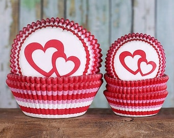 Valentine's Day Cupcake Liners Set, Striped Cupcake Liners, Heart Cupcake Liners, Red Baking Cups, Cupcake Cases, (Mini & Standard Size)