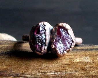 Raw Crystal Spinel Ring Copper Natural Small Stone Ring Midwest Alchemy Rough Stone Jewelry Size 7.5