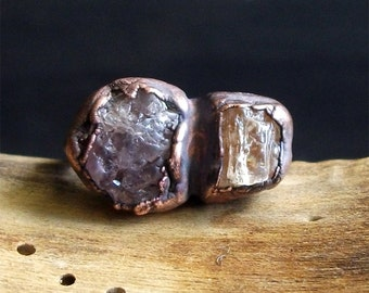 Raw Topaz Spinel Crystal Ring Rough Stone Jewelry Midwest Alchemy Small Natural Stone Ring Copper Size 6.5