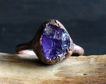 Rough Amethyst Ring Copper Natural Crystal Size 8 February Birthstone Raw Stone Midwest Alchemy