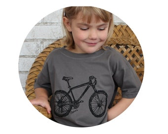 Children's TShirt, Toddler Graphic Tee, Dark Grey,  Bicycle,Youth Mountain Bike T Shirt, Kids Clothing, Cyclist, Screenprint, Hand Printed