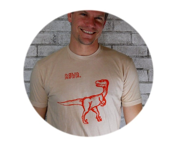"Men's Tshirt, ""Dinosaur Rawr"" velociraptor tee shirt in tan Light Cream T Shirt Cotton Crewneck Graphic Tee Prehistoric Dinosaur Screenprint"