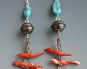 Carved Coral Turquoise Sterling Fetish Bird Earrings