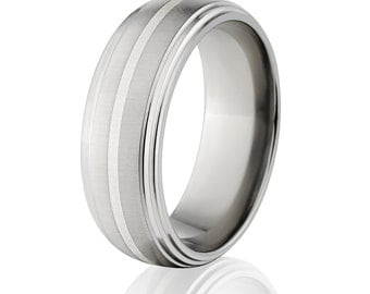 New Comfort Fit, 8mm Titanium Ring, Sterling Silver Inlay, Free Jewelry Sizing 4-17