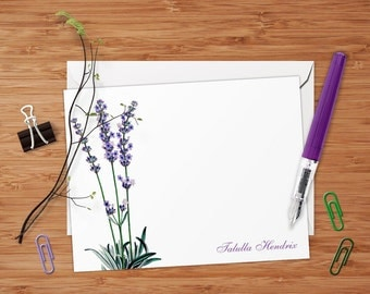 Lavender - Set of 8 CUSTOM Personalized Flat Note Cards/ Stationery