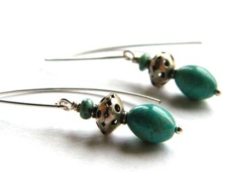 Turquoise Earrings, Dangle Earring, Drop Earrings, Beaded Earrings