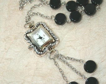 Watch Pendant Necklace, Women's Black Coin Jet Bead Necklace Watch