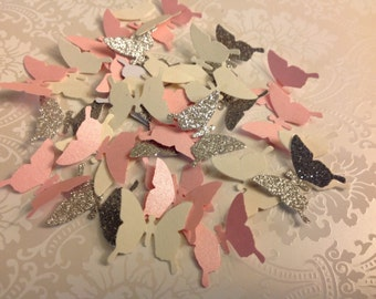 Beautiful Paper butterflies Pinks Creams Silver  100 pc     Table Decorations   Wedding   Reception