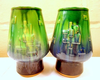 Mid Century Retro Green and Blue Drip Potter Vase Set