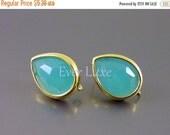 15% SALE 2 Mint green turquoise faceted teardrop glass stones in simple gold bezel setting, stud earrings 5097G-MT (bright gold, mint, 2 pie