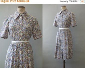 Elza dress   cotton liberty shirt dress   1960's by cubevintage   medium