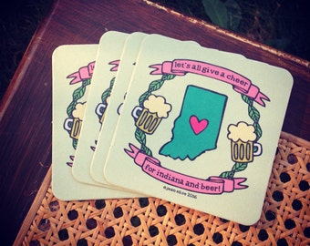 Let's all give a cheer! Indiana Beer coasters!