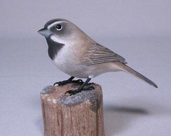 Black-throated Sparrow Original Wood Carving Bird