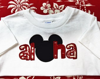 Childrens Mickey or Minnie Red Aloha T-shirt